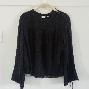 Aritzia Wilford label black jacuard blouse